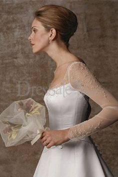 illusion Neckline for Satin Wedding Gowns with Long Sleeves