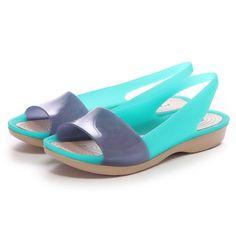 d9a110457 Crocs - Guốc Nữ ColorBlock Translucent Flat (Tropical Teal Nautical Navy)