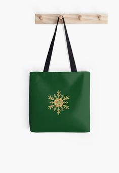 Golden Glitter Sparkle Snowflake on Christmas Holly Green by podartist Dazzling sparkling photo-effect fine gold glitter snowflake with twelve double forked branches and center star on Christmas Holly Green Custom Tote Bags, Golden Glitter, Red S, Red Christmas, Midnight Blue, Sell Your Art, Iphone Wallet, Iphone Case Covers, Branches