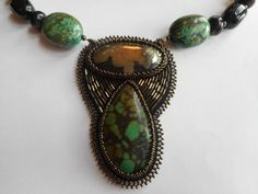 Apache Gold and Turquoise Pendant, Agate, Obsidian, Matching Earrings