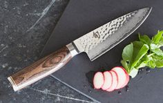 "Shun Premier 8"" Chef's Knife whith hammered steel blade and walnut handle"