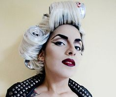 Lady Gaga halloween makeup idea. Black and White... seems simple. Soda pop cans.. lol