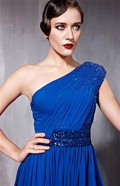 Floor-length A-line Blues One-shoulder Quick Delivery Dresses - Quick Delivery Dresses - OuterInner.com