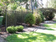 high three rail bronze ornamental aluminum fence with ball caps. Gabion Fence, Brick Fence, Concrete Fence, Front Yard Fence, Farm Fence, Fenced In Yard, Horse Fence, Rustic Fence, Fence Stain