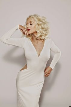 "Christina Aguilera ""Woman"" Fragrance photoshoot, white dress"