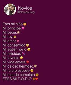 Mi todo!!! Love Boyfriend, Boyfriend Texts, Boyfriend Quotes, Cute Relationship Texts, Amor Quotes, Tumblr Love, Love Text, Cute Texts, Love Phrases