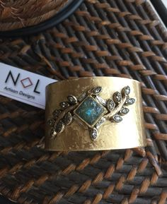 Vintage Egyptian Aztec Native Inspired Extra Wide Cuff, Turquoise, Brass, Swarovski Crystal by NLArtisanDesigns on Etsy