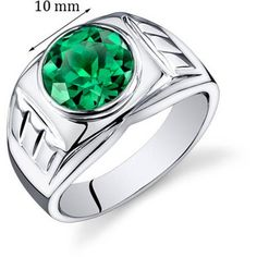 Mens Carats Round Cut Emerald Ring In Sterling Silver With Rhodium Finish Size Available Sizes 8 To 13 - Sears Mens Emerald Rings, Ruby Rings, Emerald Cut, Titanium Rings For Men, Bezel Ring, Perfume, Black Rings, Sterling Silver Rings, Silver Jewelry