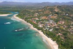 Costa Rica aerial photo of Playa Tamarindo and River mouth showing the town and beach of Tamarindo and the Pacific Ocean