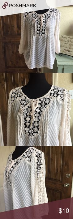 Cream lace bodice loose fitting top sz m Cream lace bodice semi sheer fabric. loose fitting top sz m. Also have a black one! Tops Blouses