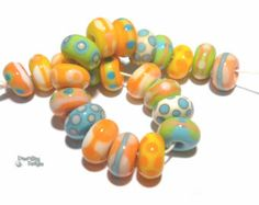 SANDBAY Handmade Lampwork Beads Mix of Ivory by desertbugdesigns