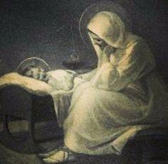 Virgen María con Jesús niño.