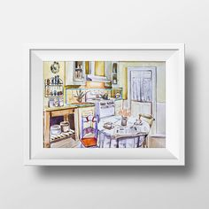 Wall Art Watercolor Lorelai & Rory House Kitchen Interior Print,Gilmore girls,Lorelai and Rory,Tv Show Poster,Luke's Diner,Luke Danes,Poster