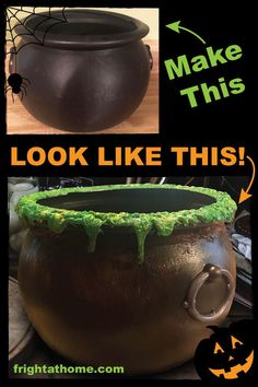 Halloween diy 293789575694191354 - Make a Black Plastic Cauldron Look Old and Used – Fright At Home Halloween Decorations Halloween DIY Upcycle Cheap to Creep Easy Halloween Craft Witch Cauldron Halloween Prop Witch Costume Prop Source by kehrerrf Manualidades Halloween, Easy Halloween Crafts, Happy Halloween, Halloween Party Decor, Holidays Halloween, Halloween Witches, Diy Creepy Halloween Decorations, Halloween 2020, Halloween Festival