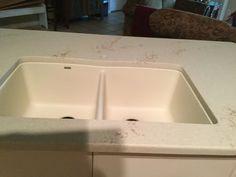 Phase 2.  After quartz counter installed, Blanco Composite sink in Biscuit was undermounted from Premier Granite, Spartanburg, SC  Kitchen Remodel September 29, 2015