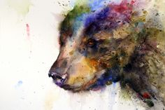 Because he filled the black bear with color, it looks both solid and drifted, because the page is unapologetically splitzed with colors in the open ears.  ~cww : Black Bear by Dean Crouser