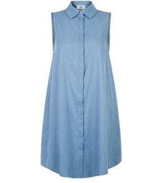 Light Blue Denim Sleeveless Shirt Swing Dress