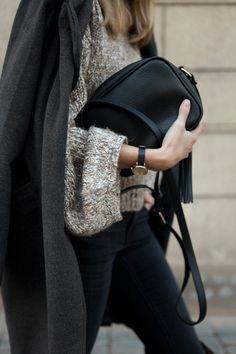 black and grey knit