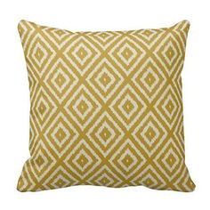 JulianArtsale Ikat Diamond Pattern Mustard Yellow and Cream Retro Cotton Linen Square Throw Pillow Case Shell Decorative Cushion Cover Pillowcase 18x 18 Inches -- Want additional info? Click on the image.