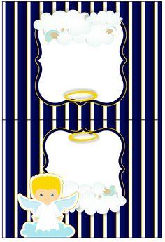 Cartão Agradecimento de Mesa Batizado Azul Marinho Anjinho Loiro