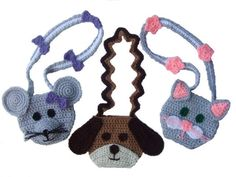 Purse Crochet Patterns, pattern pack includes instructions for a Mouse purse, a Dog purse and a Cat purse. $7.99 http://crochetvillage.com//