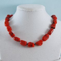 Red Coral Necklace Chunky Red Necklace by LBlackbournJewelry