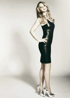 Jennifer Lawrence in black leather dress. I have to get one of those!!