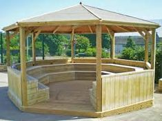 Playground shelters are a popular requirement for the school playground. ESP manufacture a wide range of playground shelters, canpies and outdoor classrooms Outdoor Stage, Outdoor Theater, Outdoor School, Outdoor Gazebos, Patio Gazebo, Diy Gazebo, Natural Playground, Playground Ideas, Playground Equipment For Schools
