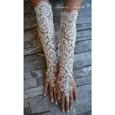 Extra long ivory frame wedding glove, Bridal Glove, ivory lace cuffs,... ❤ liked on Polyvore featuring accessories, gloves, bridal lace gloves, ivory gloves, bridal gloves, lace fingerless gloves and ivory lace gloves