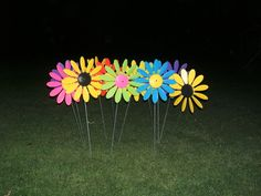 Happy Daisies are plastic garden ornaments that spin in the wind and have been available since Garden Ornaments, Daisies, Spin, Different Colors, Grass, Colours, Happy, Herb, Daisy
