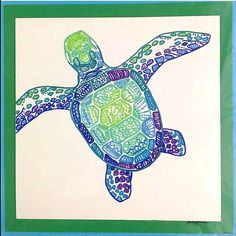 Sea Turtle Art. Wall Décor so colorful @ The Color Shop by Sara on Etsy.