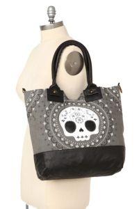 Loungefly - Grey Sugar Skull Canvas Tote   Handbags