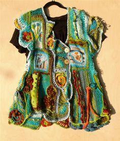 weareble art vest/ mixed media techniek: vilten/printen/borduren/freeformchrochet/ haken