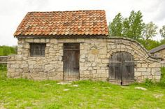 Old barn cellar with ceramic tiles Royalty Free Stock Images