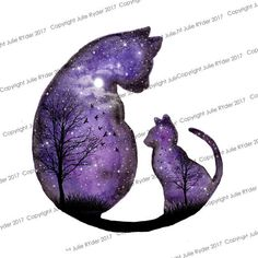 12 x 12 inch Watercolour Print of Purple Cats Silhouette with Galaxy Sky with Moon, Stars, Tree and birds. Watercolour Print of Purple Cats Silhouette with Galaxy Sky. Cat Tattoo Designs, Galaxy Cat, Star Tattoos, Galaxy Tattoos, Circle Tattoos, Owl Tattoos, Fish Tattoos, Purple Cat, My Art Studio