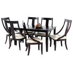 COMMODITY   Juego de Comedor / 007TCSOMERT / Madera  Mesa rectangular de madera, sillas de madera, estilo contemporáneo.