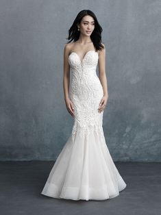 With swirls of beading covering the bodice, this strapless gown is beautifully balanced by a subtly flared horsehair hemline. Bridal Wedding Dresses, Bridal Style, Bridesmaid Dresses, Tulle Wedding, Wedding Bells, Dream Wedding, Strapless Sweetheart Neckline, Strapless Gown, Allure Couture
