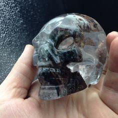 TT353(408g) Natural Amazing Special Green Phantom Quartz Crystal Skull Carving Head Healing