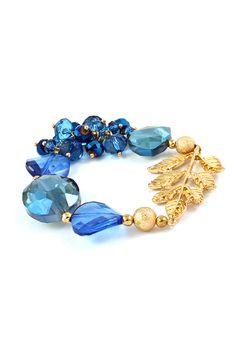 Gold vermeil and blu crystal bead bracelet with leaf motif