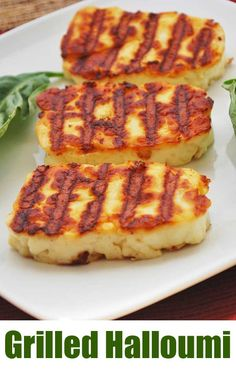 Grilled Halloumi cheese is a delicacy. Soft, gooey interior, and a wonderfully savory flavor. It& a magic cheese that you can grill! Halumi Cheese Recipes, Hallumi Recipes, Grilling Recipes, Appetizer Recipes, Low Carb Recipes, Snack Recipes, Cooking Recipes, Appetizers, Appetizer Buffet