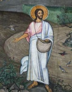 "Jesus, The Sower. BIBLE SCRIPTURE: Matthew ""And he spake many things unto them in parables, saying, Behold, a sower went forth to sow; Bible Pictures, Jesus Pictures, Catholic Art, Religious Art, Jesus Is Lord, Jesus Christ, Parables Of Jesus, Bible Illustrations, In Christ Alone"