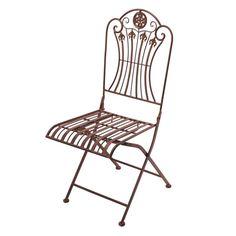 CADEIRA DE FERRO.  Cadeira dobrável produzida em ferro de alta qualidade na cor marrom. A peça possui detalhes vazados.  CorMarrom  MaterialFerro  MedidasLargura:40 cm x Altura:97 cm x Profundidade:50 cm