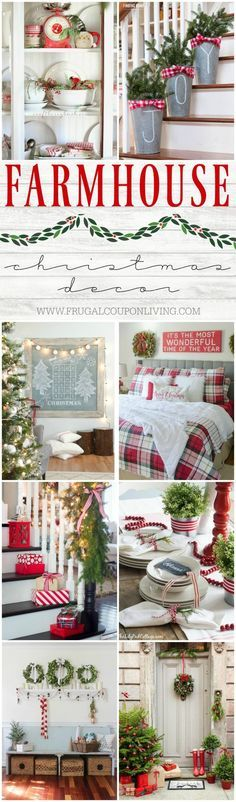 DIY Home Decor Ideas : Illustration Description Inspiring Farmhouse Christmas Decor on Frugal Coupon Living. Creative ideas for the Christmas season including rustic metals, distressed woods, and e… Farmhouse Christmas Decor, Country Christmas, All Things Christmas, Christmas Home, Christmas Holidays, Christmas Crafts, French Christmas, Plaid Christmas, Green Christmas
