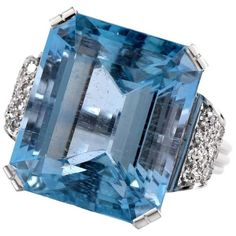 Preowned Retro Fine Aquamarine Diamond Platinum Ring ($7,999) ❤ liked on Polyvore featuring jewelry, rings, multiple, pre owned diamond rings, diamond jewelry, diamond rings, emerald cut ring and vintage jewelry