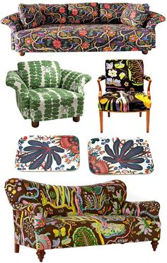 Upholstered with Josef Frank fabric Swedish Design, Scandinavian Design, Chinoiserie, Josef Frank, Textiles, Small Furniture, Home Decor Fabric, Mid Century Modern Design, Surface Pattern Design