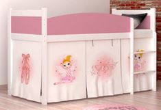 Loft bed mid sleeper Ballet with mattress and curtains Ballet, Mid Sleeper, Furniture Board, Data Sheets, Colorful Curtains, Foam Mattress, Space Saving, Baby Shop, Toy Chest