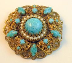 Vintage Made in Germany Layered Brooch Robin's Egg Blue & Faux Pearls