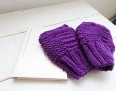 Knit fingerless gloves knit wrist warmers purple fingerless gloves hand knit ready to ship winter wear women's gift idea accessory by SixthandDurianGifts