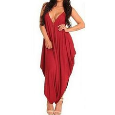 Summer Women Oversized Strappy Backless Jumpsuits Rompers | Sexy Female Deep V Neck Casual Loose Long Harem Pants Playsuits
