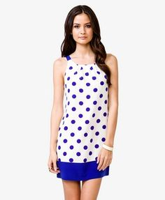Cute, but way too short    Contrast Polka Dot Shift Dress | FOREVER 21